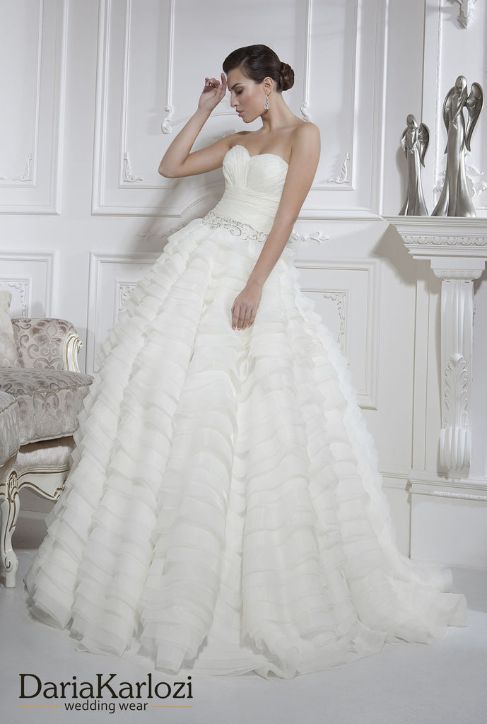 Ivory lace rhinestones wedding dress ball A-line