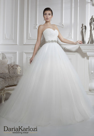 Ivory lace tulle rhinestones wedding dress ball A-line
