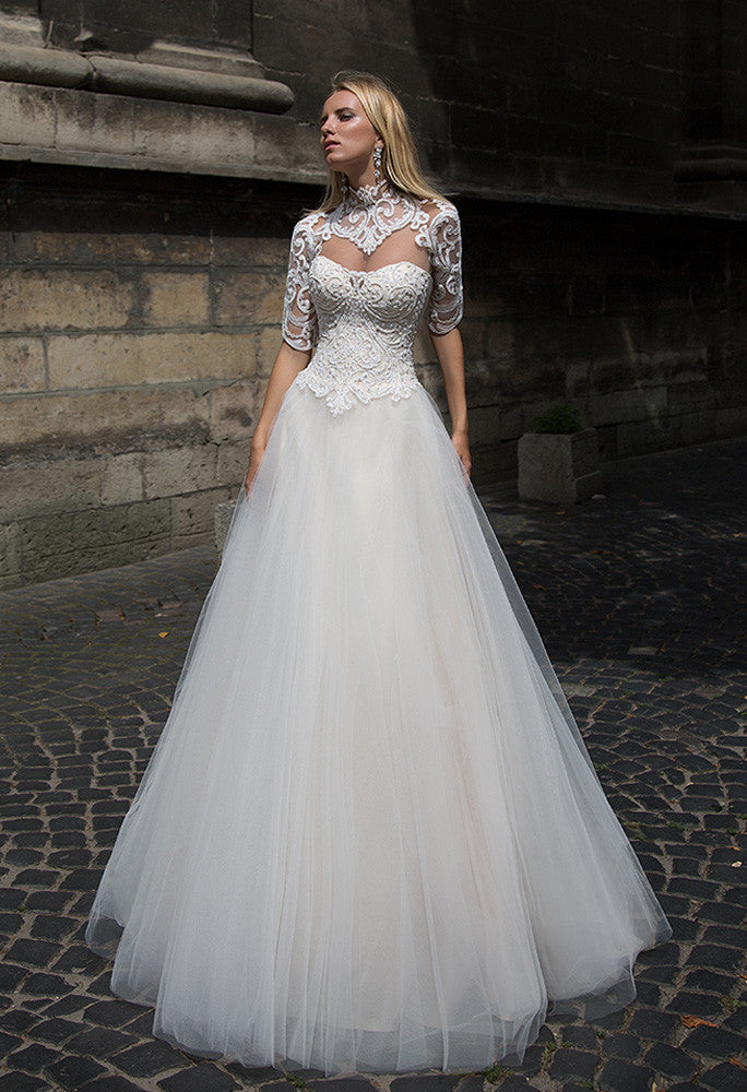 Lace  princess ball gown lace A-Line wedding dress