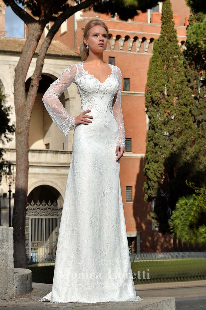 Lace long sleeve mermaid trumpet ball Gown Wedding Dress