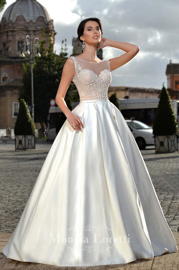 Lace satin A-line ball gown Wedding Dress