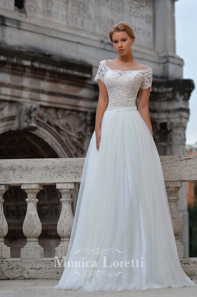 Lace satin tulle A-line ball gown Wedding Dress