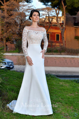 Lace long sleeve a-line ball Gown Wedding Dress
