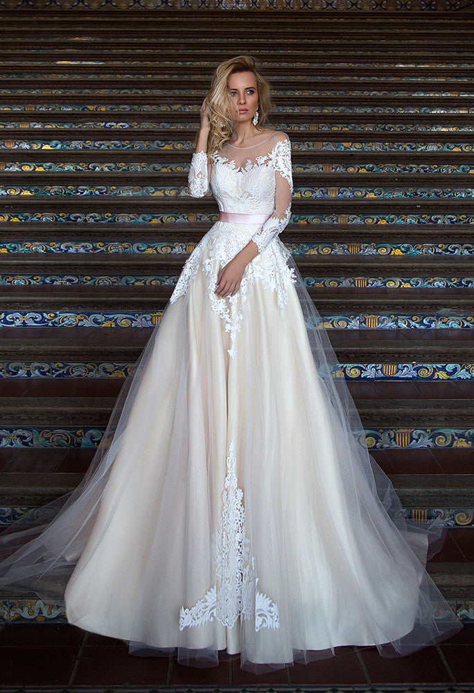 Lace tulle long sleeve princess ball gown lace A-Line wedding dress