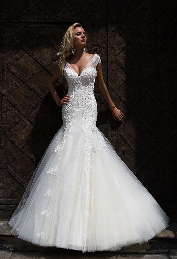 Lace princess mermaid lace wedding dress..