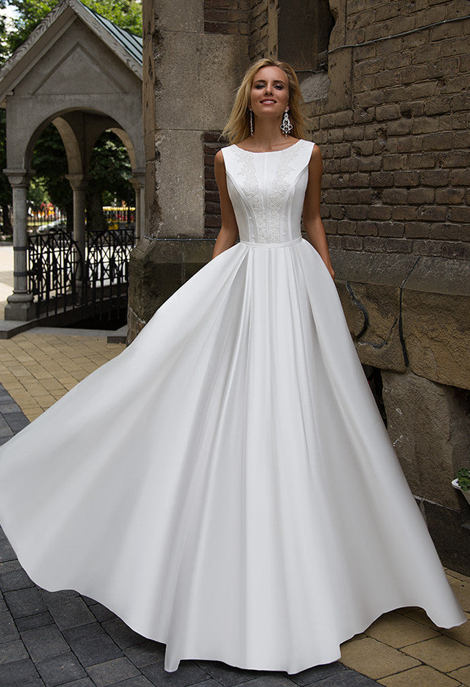 SATIN Wedding Dress -A-LINE, BALL GOWN..