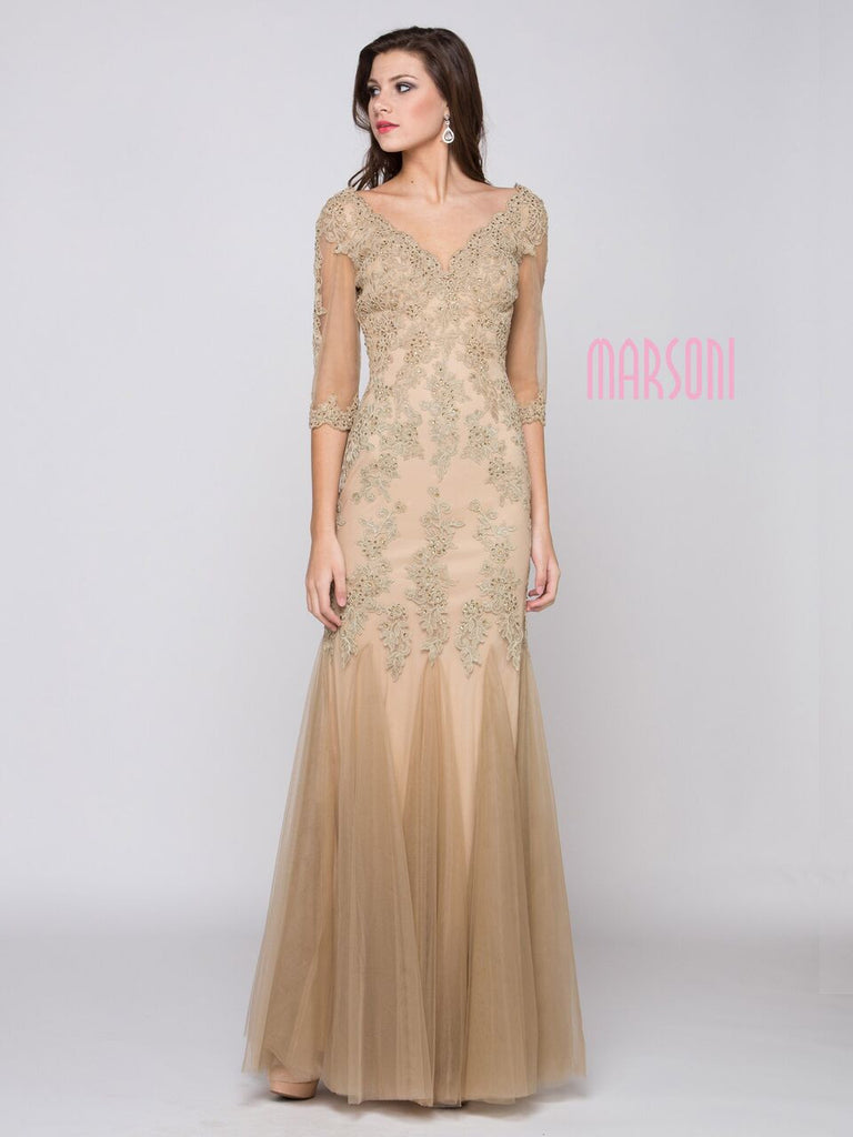 Mother Of The Bride Lace satin chiffon Long Dress.