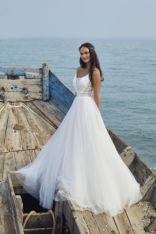 Chic Nostalgia lace chiffon satin tulle A-line wedding dress