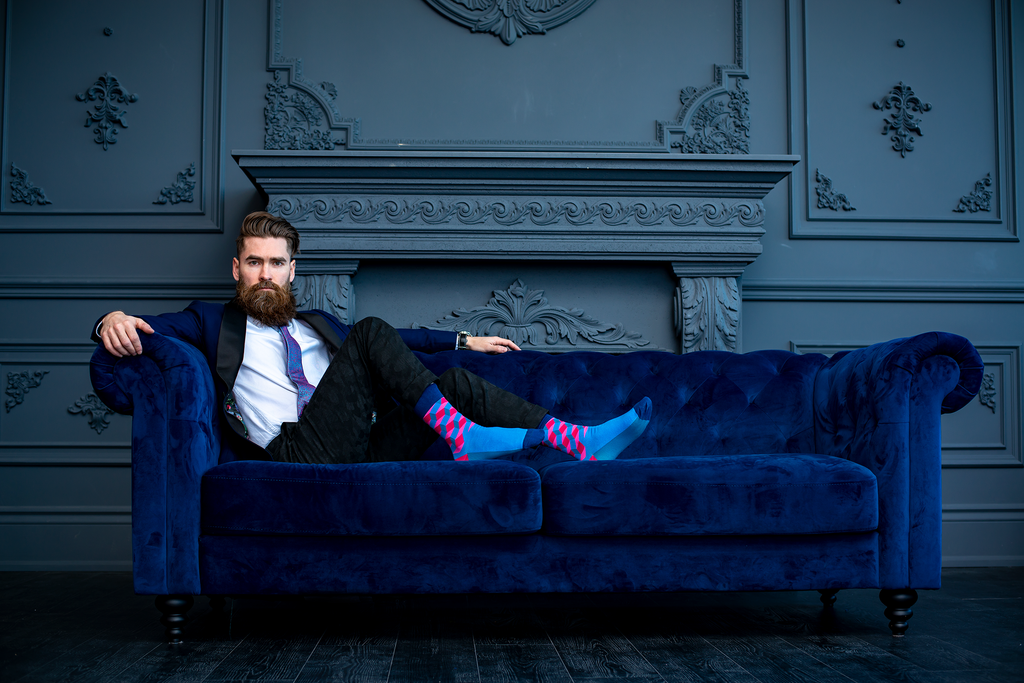 Mens Blue Dress Socks
