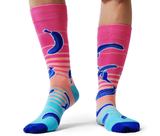 Banana Fun Socks, Blue and Pink - Uptown Sox