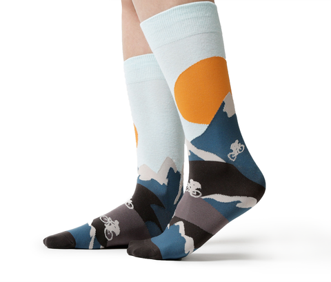 Bike Blue Orange Mountain Sock - Uptown Sox