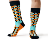 Blue Orange Geometric Pattern Sock - Socks for Men