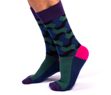 MENS-CREW NOVELTY-DRESS-GEOMETRIC-GREE-BLUE-PINK-SOCKS
