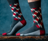 Mens grey and red dress socks