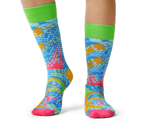 80's Cassette Spray Paint Colorful Pink Green Blue Sock - Uptown Sox