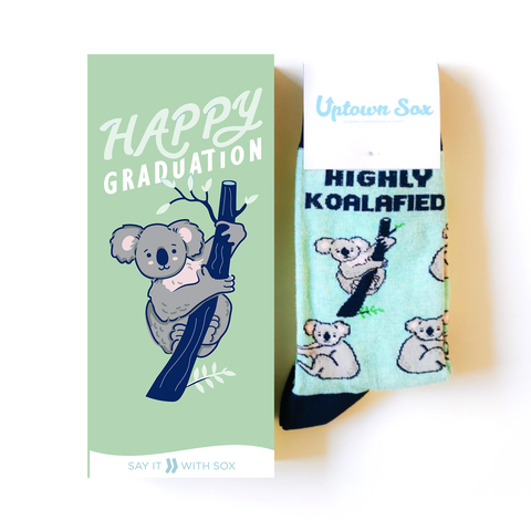 GRADUATION KOALA CARD AND NOVELTY SOCKS