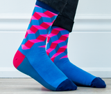 MENS-CREW NOVELTY-DRESS-GEOMETRIC-PINK-BLUE-SOCKS