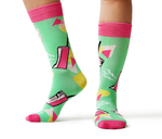 Phone Pink Green Yellow 80's Cool Sock - Uptown Sox