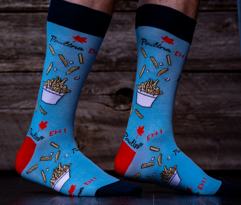 Poutine Canada Cool Funky Crazy Dress Socks