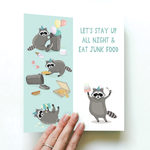 RACCOON HAPPY BIRTHDAY CARD AND NOVELTY SOCKS