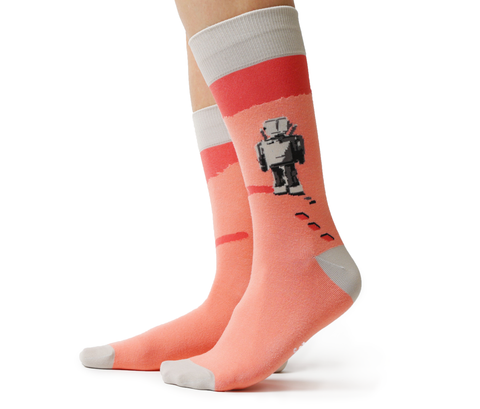 Robot Pink Grey Funky Colorful Fun Sock - Uptown Sox