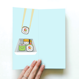 SUSHI GREETING CARD AND NOVELTY SOCKS