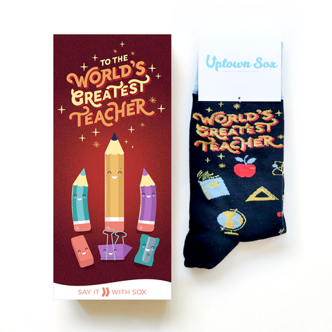 Thank you Best Teacher greeting card and socks