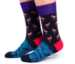 MENS-CREW NOVELTY-FLAMINGO-SOCKS