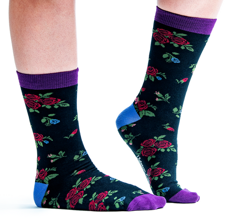 WOMENS-CREW NOVELTY-FLORAL-SOCKS