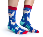 WOMENS-CREW NOVELTY-LLAMA-SOCKS