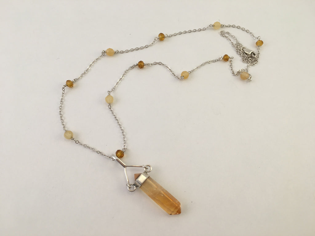 Citrine or Amethyst Crystal Necklaces