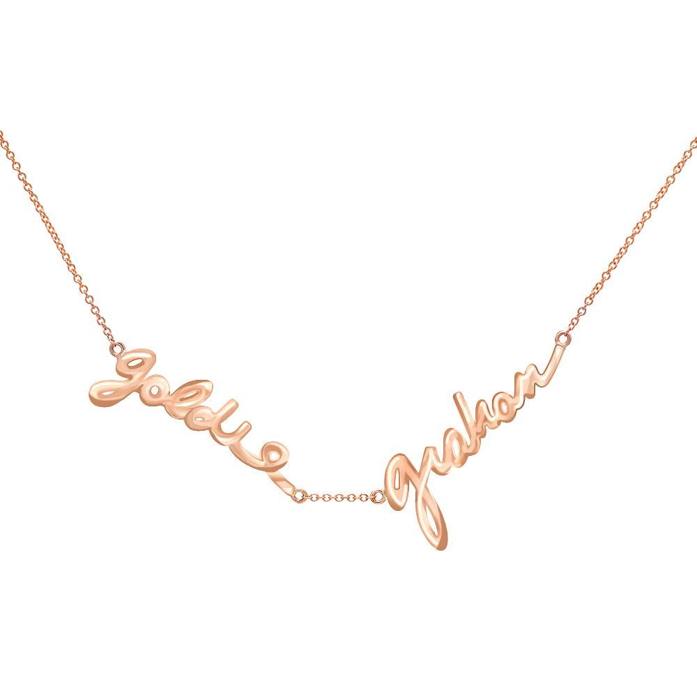 Double Name Custom Signature Necklace Without Diamonds_