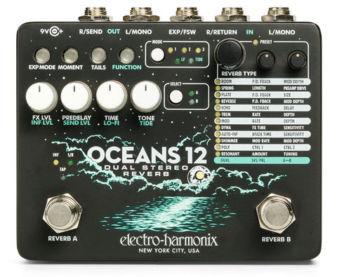 Electro-Harmonix Oceans 12 Dual Stereo Reverb Pedal