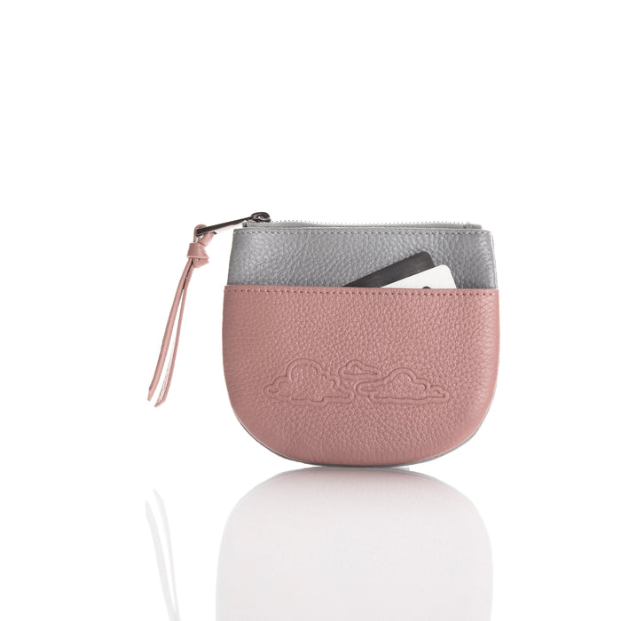 Coin purse: 'Cloud range' in blush/light grey leather.