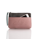 Small leather pouch. 'Mountain Range' in blush/dark grey.