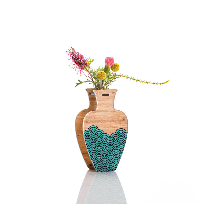 Large Handmade Vase - Teal Wave design