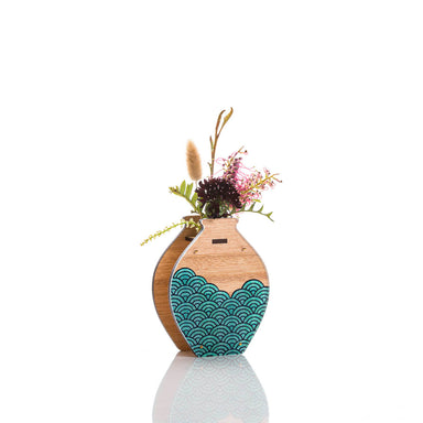 Medium Handmade Vase - Teal Wave design