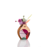 Medium Handmade Vase - Red Geo design