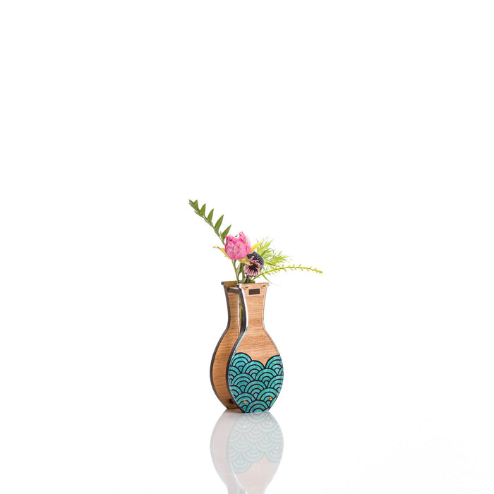 Small Handmade Vase - Teal Wave design