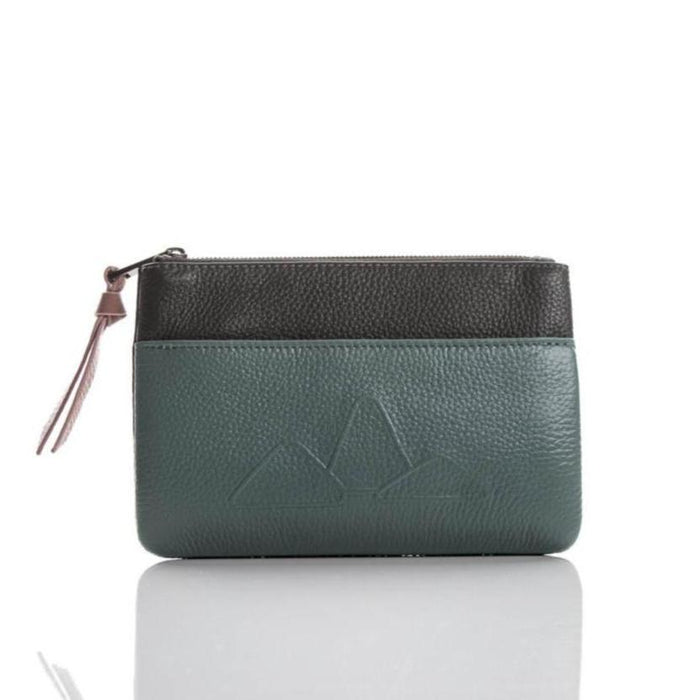 Small leather pouch. 'Mountain Range' in moss/grey.