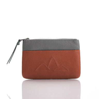 Small leather pouch. 'Mountain Range' in coral/light grey.
