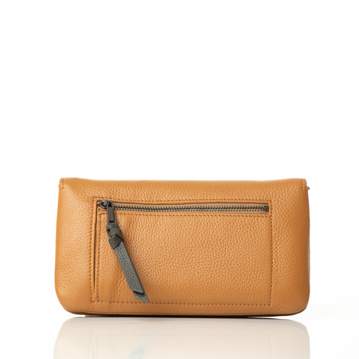 Leather wallet/clutch with smartphone pouch. 'Mountain Range' wallet in tan/blush.