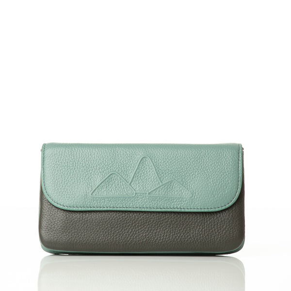 Leather wallet/clutch with smartphone pouch. 'Mountain Range' wallet in moss/grey.