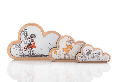 Red Girl Cloud Art: set of 3.
