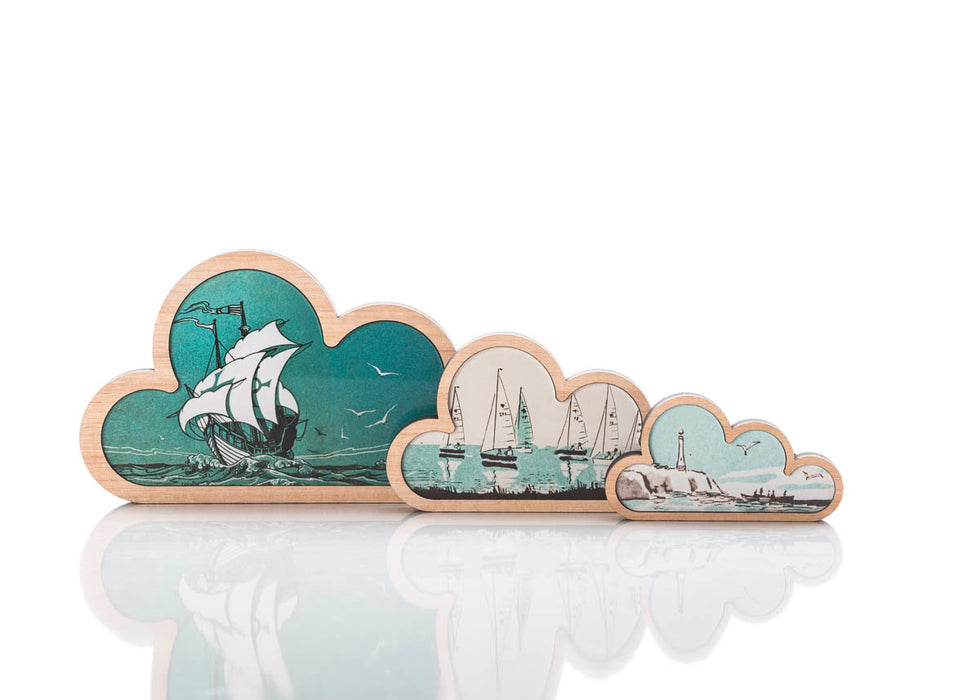 Sea Cloud Art: set of 3.