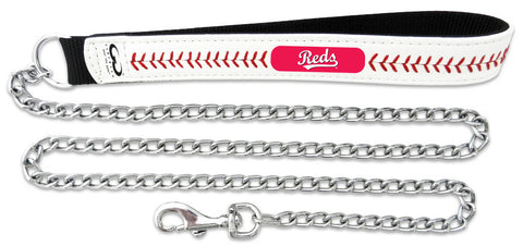 Cincinnati Reds Baseball Leather 3.5mm Chain Leash