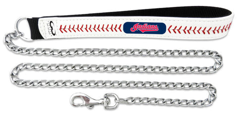 Cleveland Indians Baseball Leather 3.5mm Chain Leash