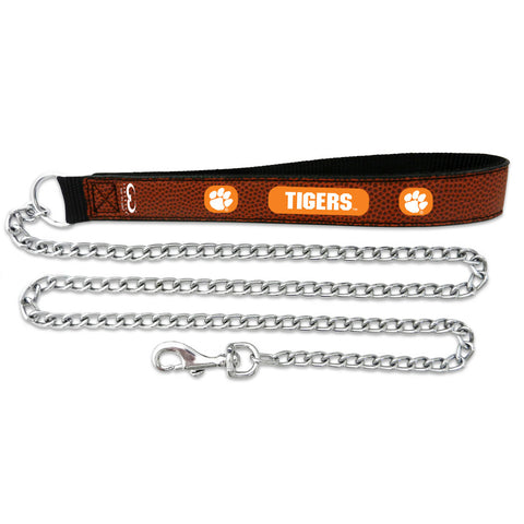 Clemson Tigers Football Leather 2.5mm Chain Leash
