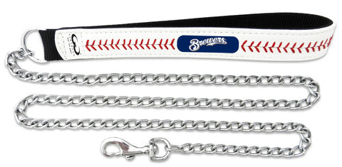 Milwaukee Brewers Baseball Leather 3.5mm Chain Leash