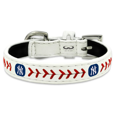 New York Yankees Classic Leather Toy Baseball Collar